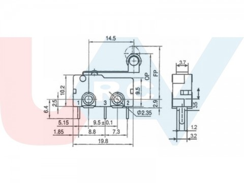 Mechanical Limit Switch with Roller for CNC, 3D Printers
