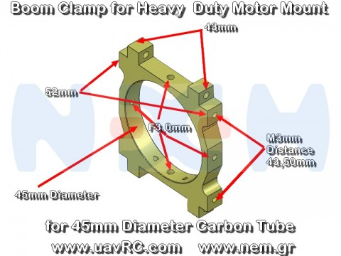 CNC Heavy Duty Motor Mount Plate for CNC Tube Clamps, choose 25, 30, 35, 40 or 45mm diameter