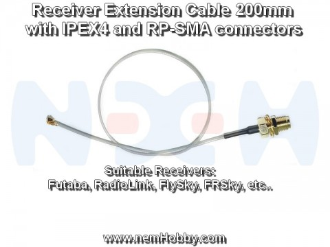 RF Extension Cable with Connectors, for RX, TX - 200mm